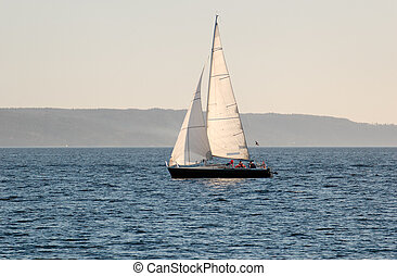 Sail Boat - A sail boat, going under sail in Oslo Fjord