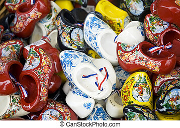 wooden shoes from Holland - wooden shoes in different colors...