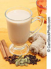 Indian tea with spices - Indian tea with different sorts of...