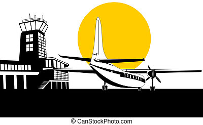 Propeller airplane rear - Illustration on air travel