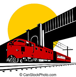 Diesel train and bridge - Illustration on rail travel