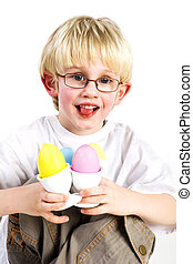 holding eastereggs - Little boy is having fun with easter...