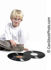 Toddler surprised by vinyl - toddler is surprised bij black...