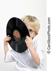 kid with LP - Lets make music with old black vinyl