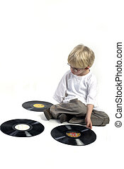 Young boy with vinyl - Young toddler with old black vinyl