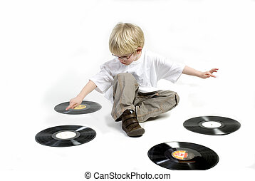 toddler with black vinyl - Young boiy with old black vinyl