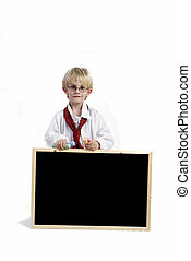 Schoolboy - Boy with blackboard for your slogan
