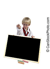 Angry kid with blackboard - Angry kid with black-board to...