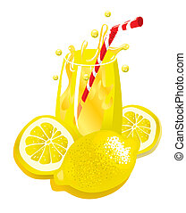 Lemonade (illustration) - Glass Of Lemonade With Straw (XXL...