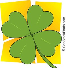 Shamrock - A single four leafed clover on a yellow squared...