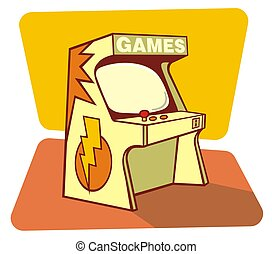 Retro games console - Illustration of a retro games coin...