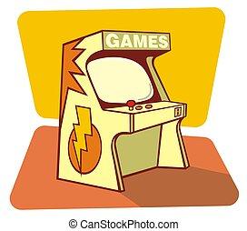 Retro games console - Illustration of a retro games coin...
