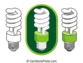 Spiral cfl - Spiral compact fluorescent light bulb icon in...