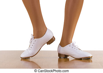 Tap-Top Steps - Tap-Top/Clog dance side steps; close up, on...