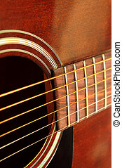 Guitar close up - Body of an acoustic guitar close up