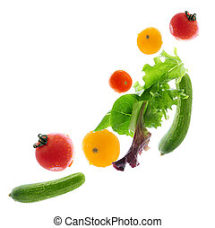 Fresh vegetables flying - Assorted fresh vegetables flying...