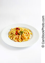 Plated Shrimp Penne Pasta - Shrimp Penne Pasta on a white...