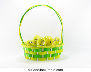 Happy Easter Eggs - Green and yellow easter basket with...