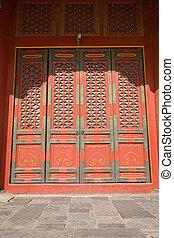 red door inside of forbidden city beijing china
