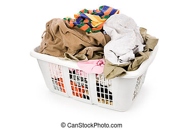 laundry basket and dirty clothing with white background