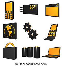 Telecommunications Mobile Industry Icons Set - Black Orange...