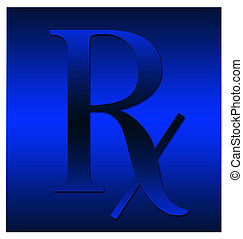 Blue Rx symbol - A dark blue RX symbol illustration