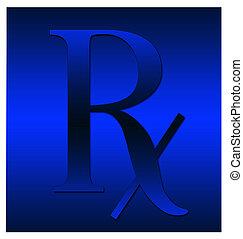 Blue Rx symbol - A dark blue RX symbol illustration