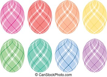 Pastel Plaid Easter Eggs - Eight Easter eggs with pastel...