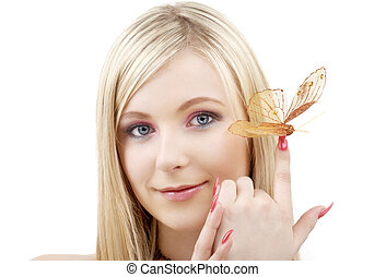 butterfly blond - picture of lovely blond with butterfly...