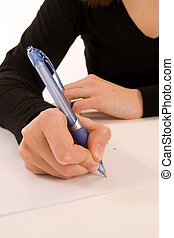 Writing a Message - woman writting message on white paper