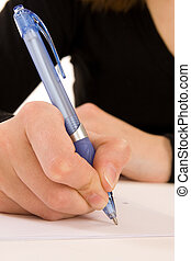 Writing a Message - businesswoman writting message on white...