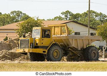 Dump truck - A dump truck sits empty on a weekend sunday