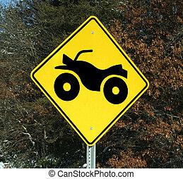 four wheeler trail sign - warning sign for atv four wheeler...