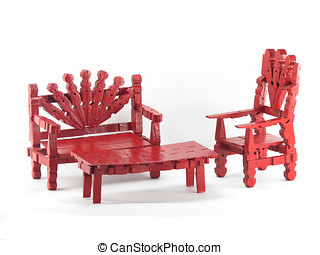 Red Clothespin Furniture - Red clothespin toy funiture...
