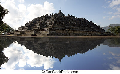 Borobudur temple - View of Candi Borobudur with reflection,...