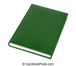 Green Book - Brown leather covered book isolated over white...