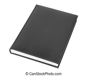 Black Book - Black leather covered book isolated over white...