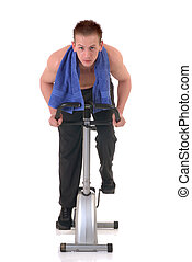Fitness exercise - Young handsome teenage male doing fitness...