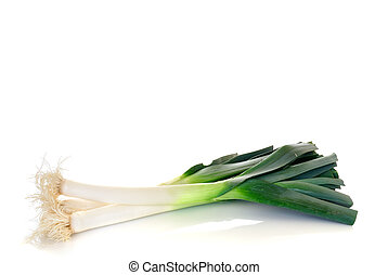 Vegetable, leek - Fresh green leek on reflective surface,...