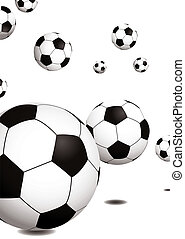 football bounce - Collection of footballs bouncing on a...