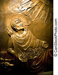 Guadalupe Mexico Statue - Bronze Relief of Juan Diego...