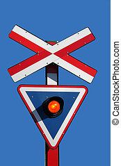Train signal - A train signal for road crossing with red...