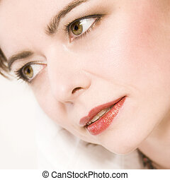 cliose portrait of a beautiful middle aged woman - Studio...