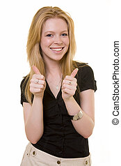 Thumbs up - Attractive young blond woman with two thumbs up...
