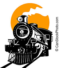Steam train - Illustration on rail travel