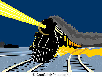 Steam train traveling  - Illustration on rail transport