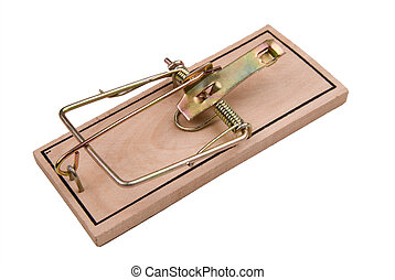 Mousetrap - An empty mousetrap isloated over a white...