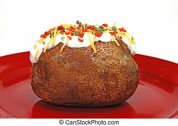 Loaded Baked Potatoq - Baked potato loaded with butter, sour...