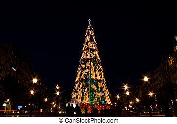 Christmas in Oporto - A well light metal christmas tree in...