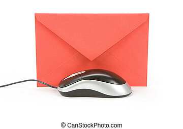 email - envelope and computer mouse, concept of email